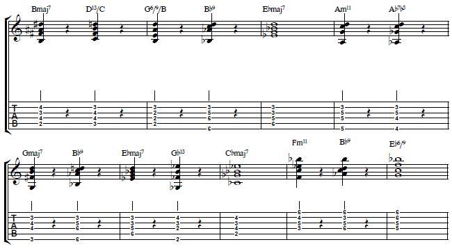 John Coltrane´s Giant Steps Chord Voicings - Jazz Guitar Lesson