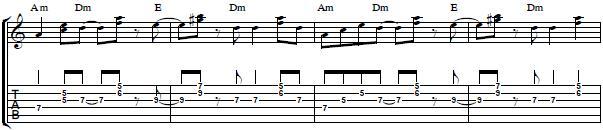 Rhythm Guitar Lesson-- Latin Guitar Riff in A minor