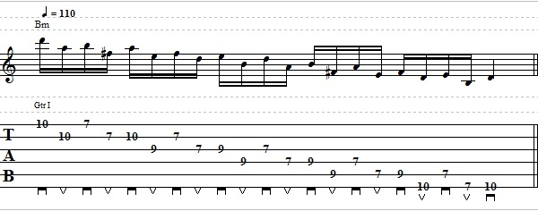 Descending Pentatonic Scale Lick with Interval of 4ths - Lead Guitar Lesson on Pentatonic Licks