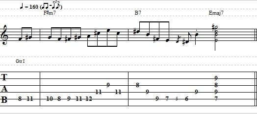 Basic II-V-I Jazz Lick in E Major - Easy Jazz Guitar Lesson