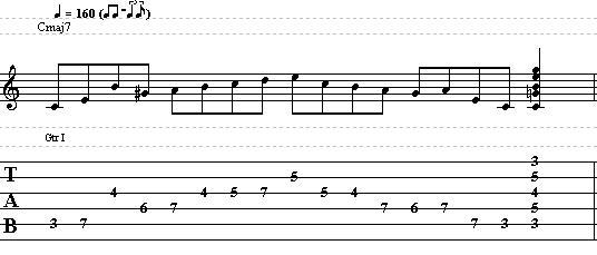 Easy Jazz Bebop Line in the Key of C Major