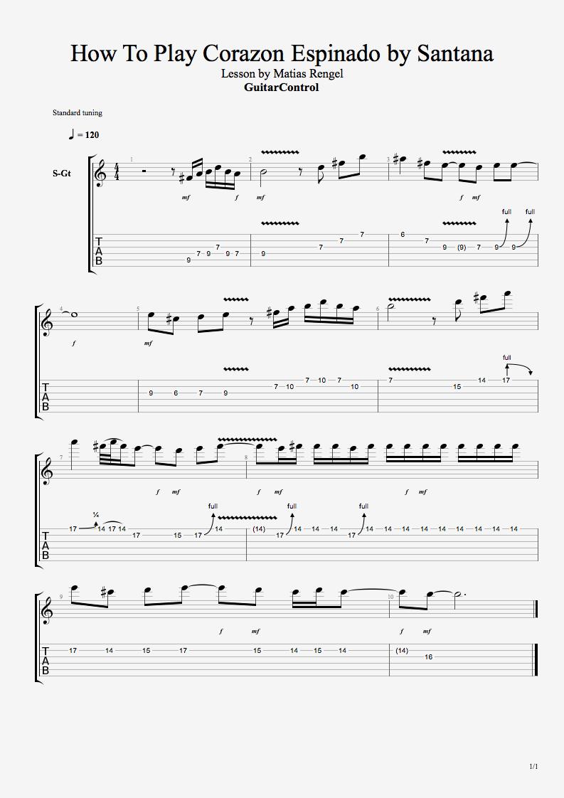 How To Play Carlos Santana S Corazon Espinado Guitar Control